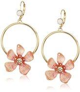 """Betsey Johnson Luminous Betsey"""" Flower Gypsy Hoop Earrings"""