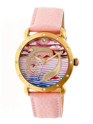 Mother of Pearl BERTHA Bertha Womens Estella Mother-Of-Pearl Light Pink Leather-Band Watchbthbr5104