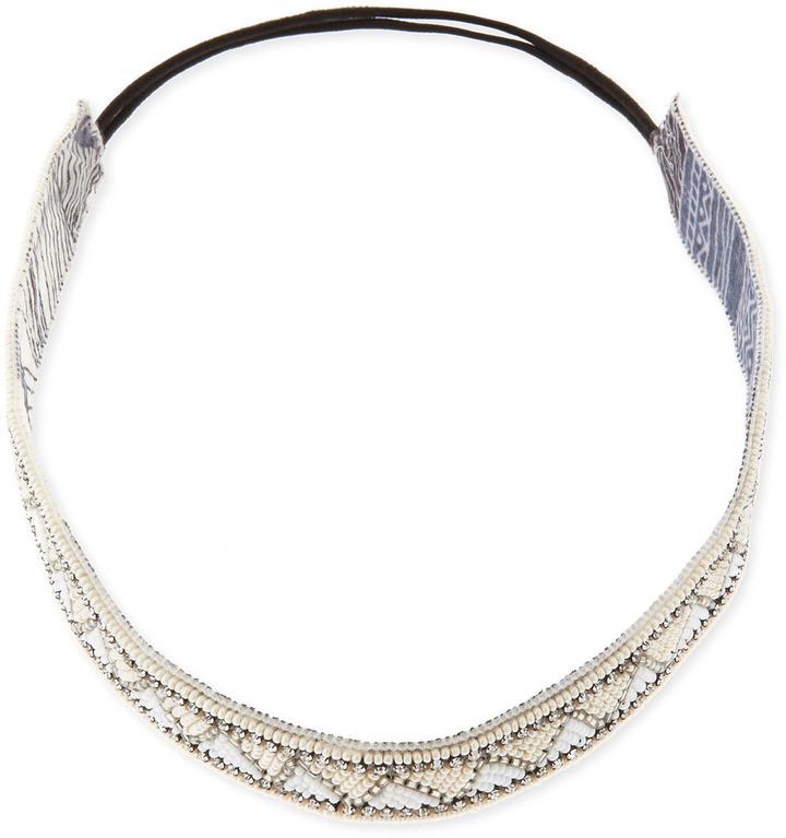 Deepa Gurnani Geometric-Beaded Headband, Ivory