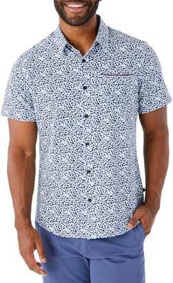 7 Diamonds Brushstroke Short Sleeve Button-Up Performance Shirt