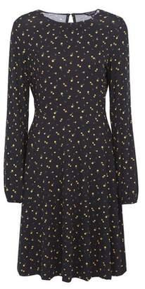 Dorothy Perkins Womens Black Ditsy Print Pleat Dress, Black