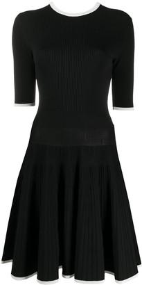 MSGM contrast-trim knitted A-line dres