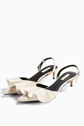 Topshop JULES White Frill Slingback Heels