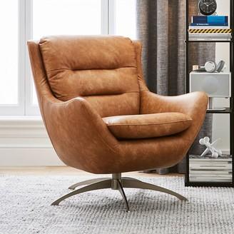 Pottery Barn Teen Vegan Leather Caramel Lennon Lounge Chair