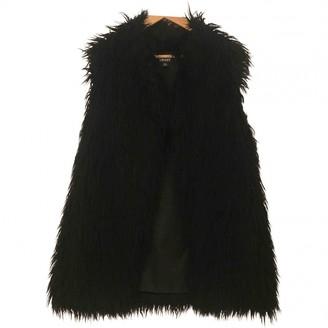 DKNY Black Faux fur Coat for Women