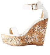 Charlotte Russe Embroidered Two-Piece Cork Wedge Sandals