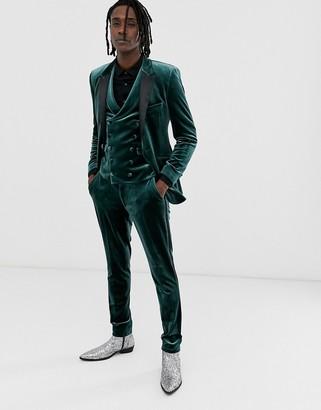 ASOS DESIGN super skinny tuxedo trousers in forest green velvet