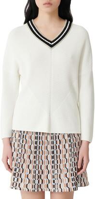 Maje Metallic Detail V-Neck Cotton Sweater
