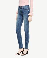Ann Taylor Embellished Skinny Jeans In Azure Wash