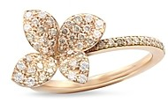 Pasquale Bruni 18K Rose Gold Secret Garden Four Petal Flower Pave Diamond Ring