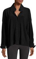 Norma Kamali NK Jersey Box Shirt, Black