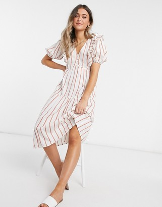 Influence ruffle front midi dress with puff sleeves in stripe