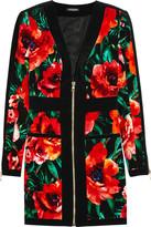 Balmain Floral-print velvet mini dress