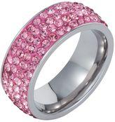 House of Fraser Aurora Flash Stainless Steel Zubic Zirconia Pink Ring