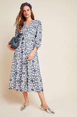 Shoshanna Demetria Petite Midi Dress By in Blue Size 0 p