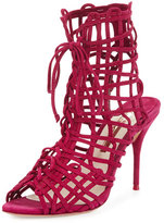 Sophia Webster Delphine Suede Lace-Up Bootie, Winter Cherry