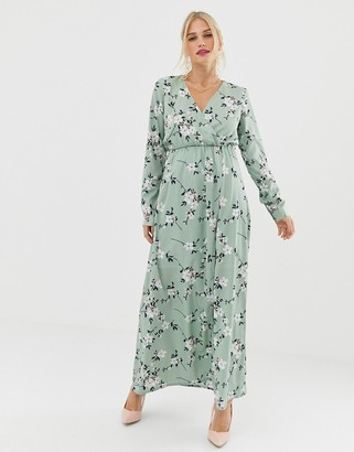 Yumi 3/4 sleeve floral wrap maxi dress-Multi