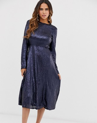 TFNC long sleeve fit and flare sequin midi dress in navy