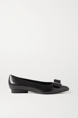 Salvatore Ferragamo Viva Bow-embellished Leather Point-toe Pumps - Black