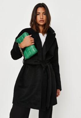 Missguided Tall Black Drop Shoulder Belted Formal Coat
