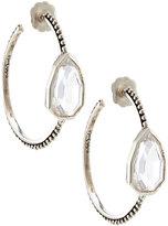 Stephen Dweck Sterling Silver & Clear Quartz Cathedral Hoop Earrings