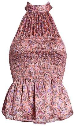 Cinq à Sept Jeanne Smocked Paisley Silk Top