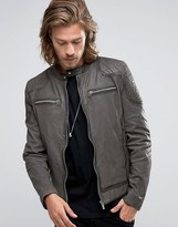 Goosecraft Leather Biker Jacket Quilt Shoulder In Charcoal