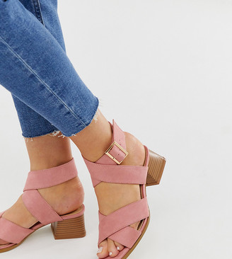 RAID Wide Fit Mavie blush square toe stacked heel sandals