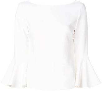 Carolina Herrera flared-sleeve V-back blouse