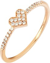 Bony Levy 18K Rose Gold Pave Diamond Heart Ring - 0.12 ctw