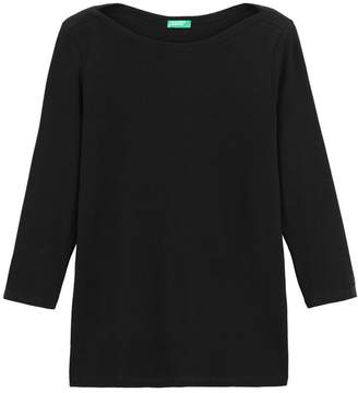 Benetton Cotton Crew-Neck T-Shirt with 3/4 Length Sleeves