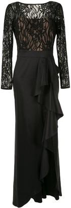 Tadashi Shoji Lace Top Taffeta Gown