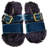 Prada Turquoise Velvet Sandals