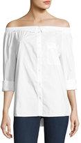 5Twelve Button-Down Off-Shoulder Blouse, White