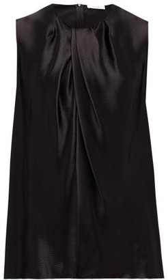 The Row Shira Sleeveless Hammered-satin Top - Black