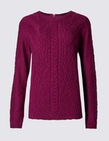 Marks and Spencer Cotton Blend Cable Knit Jumper