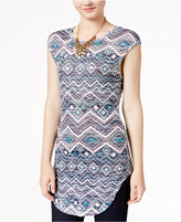 Almost Famous Juniors' Printed High-Low Tunic