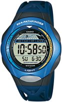 Casio Men's Quartz Watch with Grey Dial Digital Display and Blue Resin Strap SPS-300C-2VER