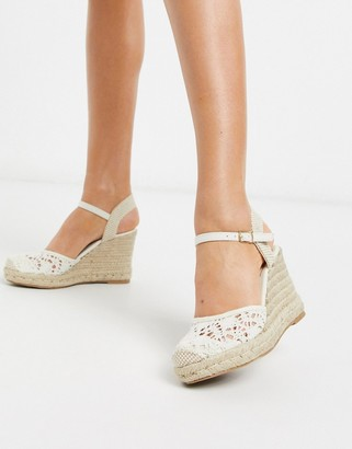 New Look crochet heeled wedges in off white