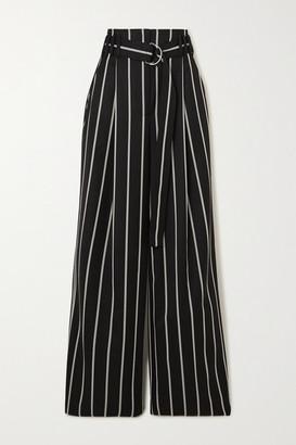 Proenza Schouler Belted Striped Wool-twill Wide-leg Pants - Black