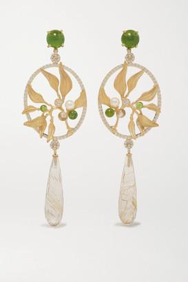 OLE LYNGGAARD COPENHAGEN Dream Catcher 18-karat Gold Multi-stone Earrings - one size