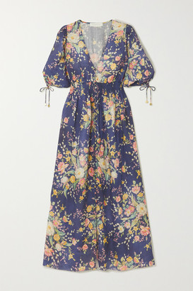 Zimmermann Zinnia Shirred Floral-print Linen Midi Dress - Navy
