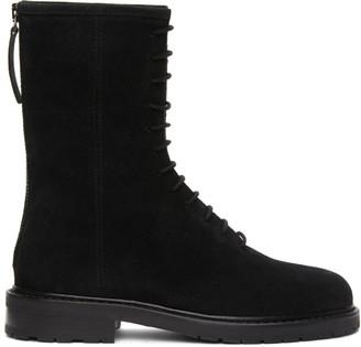 LEGRES Black Suede Combat Boots