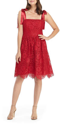 Gal Meets Glam Princess Lace Cocktail Fit-And-Flare Dress