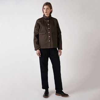 Kate Sheridan Cocoa And White A Line Jacket - S/M
