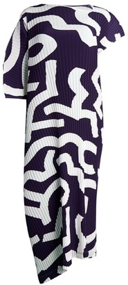 Issey Miyake Zigzag Pleats Asymmetric Dress