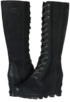 Sorel Joan of Arctictm Wedge II Tall (Black Full Grain Leather/Nubuck Combo) Women's Waterproof Boots