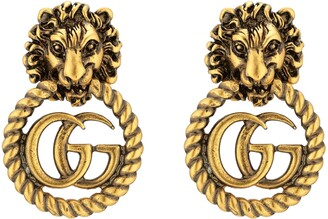 Gucci Lion head earrings with Double G