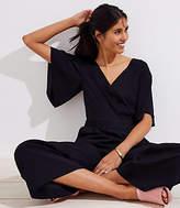 LOFT Petite Flare Sleeve Wrap Jumpsuit