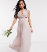TFNC Petite Petite bridesmaid lace sleeve maxi dress in pink